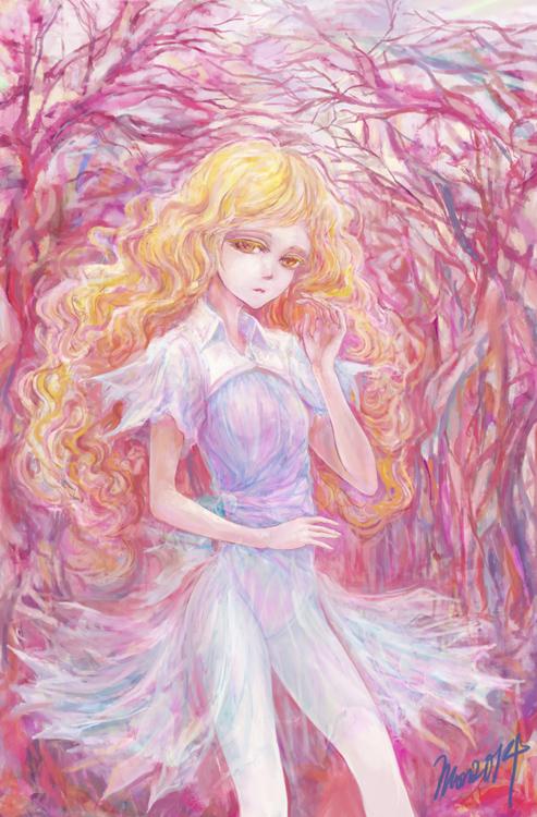 2013年賀イラスト_紅い森のなかの女の子