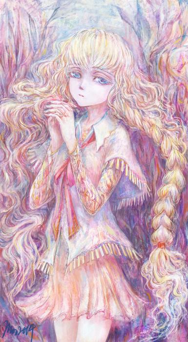 森の中、おさげの女の子