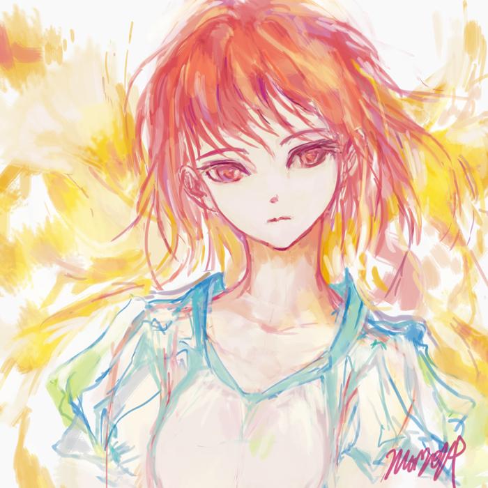 紅い髪と蒼い服の少女
